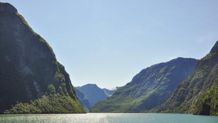 Naeroyfjord, Laerdal, Fjord, Fischerdorf, Sommer,  Norwegen