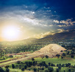 Teotihuacan, Mexico, Pyramid of the moon and the avenue of the D