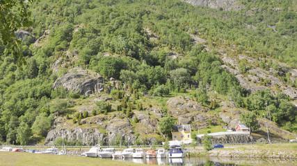Laerdal, Dorf, Hafen, Boote, Sommer, Norwegen, Skandinavien