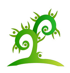 Green swirly tree teamwork icon vector