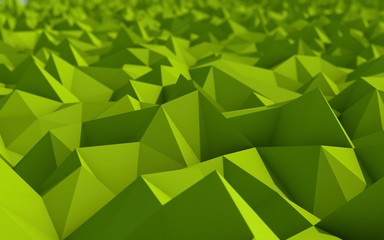Abstract Green Low Poly 3d Background with Depth of Field Effect