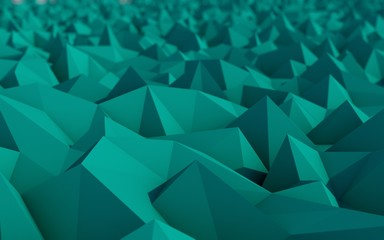 Abstract Turquoise Low Poly 3d Background with Depth of Field Ef