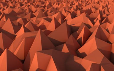 Abstract Red Low Poly 3d Background with Depth of Field Effect
