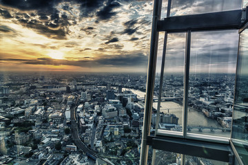 London skyline by sunset from the skyscraper