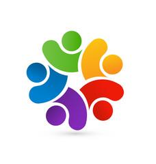 Teamwork people logo concept icon vector