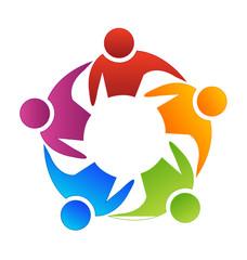 Teamwork leadership logo concept vector icon