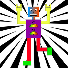 Colorful robot dancing.