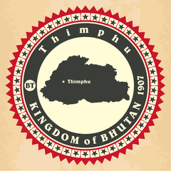 Vintage label-sticker cards of Kingdom of Bhutan.
