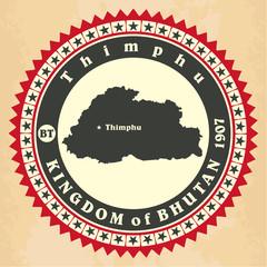 Vintage label-sticker cards of Kingdom of Bhutan.