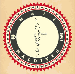 Vintage label-sticker cards of Maldives.