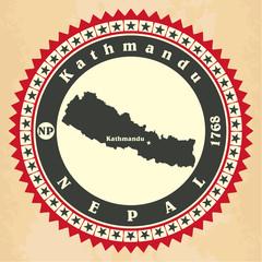 Vintage label-sticker cards of Nepal.