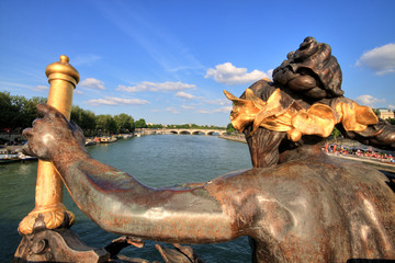 Paris Seine Cityscape with Statue