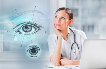 Medical doctor examining human eye