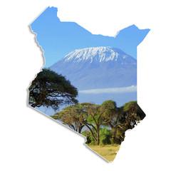 Kenya map with Kilimanjaro