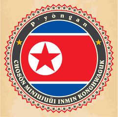 Vintage label cards of North Korea flag.
