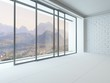 Empty white room interior with huge window