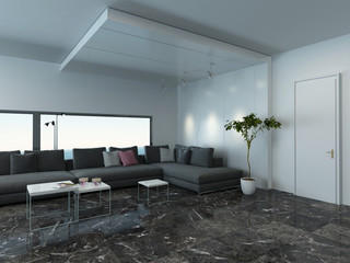 Living room with gray couch and marble floor