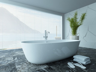 Contemporary white bathroom interior with marble floor