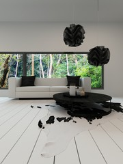 Contemporary living room with black and white sofa