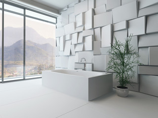 Modern abstract bathroom interior with bathtub