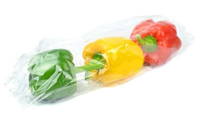Fresh prepacked paprika peppers sealed in a cellophane bag