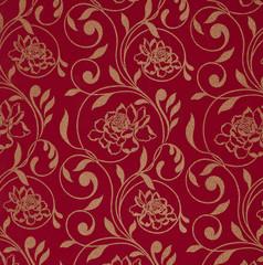 яркий бордовый фон с цветочным орнаментом