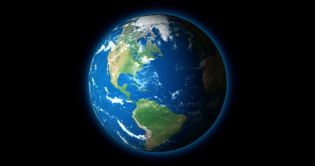 4K - Blue Planet Earth rotates on black BG