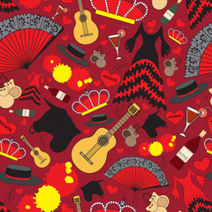Pattern with symbols of Spain for use in design