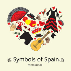 Stylized heart with symbols of Spain