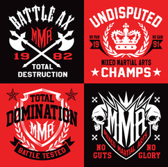 Mixed martial arts MMA emblems