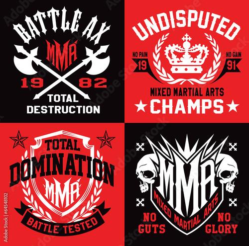 Fototapeta Mixed martial arts MMA emblems