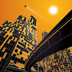 Airplane flying. Business building, overpass, neon city