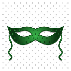 green mask on polka dots background