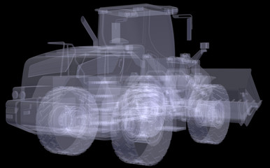 Wheel loader. X-ray render