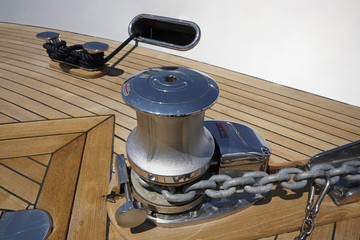 Italy, luxury yacht, bow steel bollard and anchor chain winch