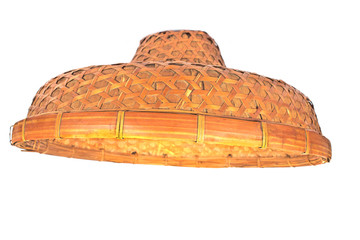 Asian bamboo conical hat isolated on white