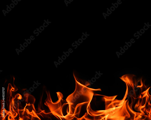 canvas print picture Fire flames on back background
