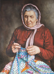 painting of an old woman who works the wool