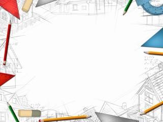architect designer desktop frame isolated on white