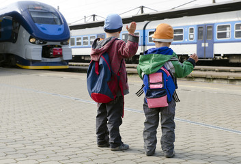 Children at train station