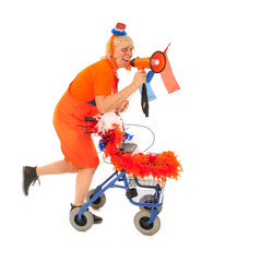 Funny senior Dutch soccer supporter