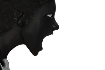 Screaming woman in black paint on white