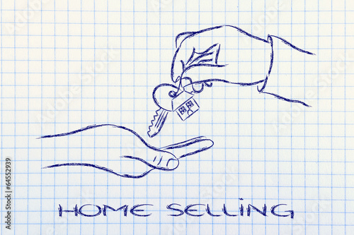 real estate market,  hands giving house key