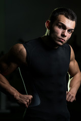 Sexy Muscular Man In A Black T-shirt