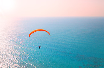 Paraglider soaring over the seashore