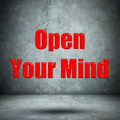 Open Your Mind concrete wall
