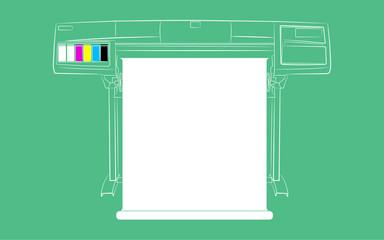 Baskı Makinesi Vektörel Çizim İllüstrasyon