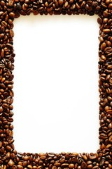 bilderrahmen, fensterrahmen aus kaffeebonen, textfeld a4 format