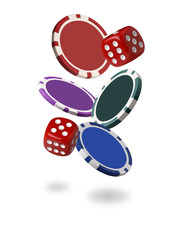Falling  Poker Chips Isolated on White