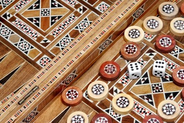 Backgammon Board and and two dice